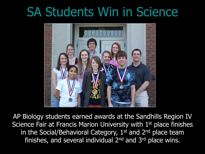 SA Students Win in Science