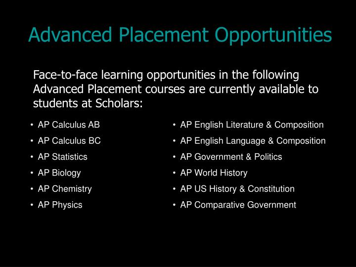 Advanced Placement Opportunities