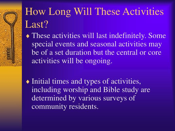 How Long Will These Activities Last?