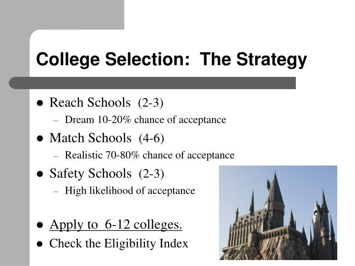 College Selection:  The Strategy