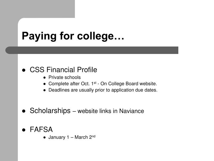 Paying for college…