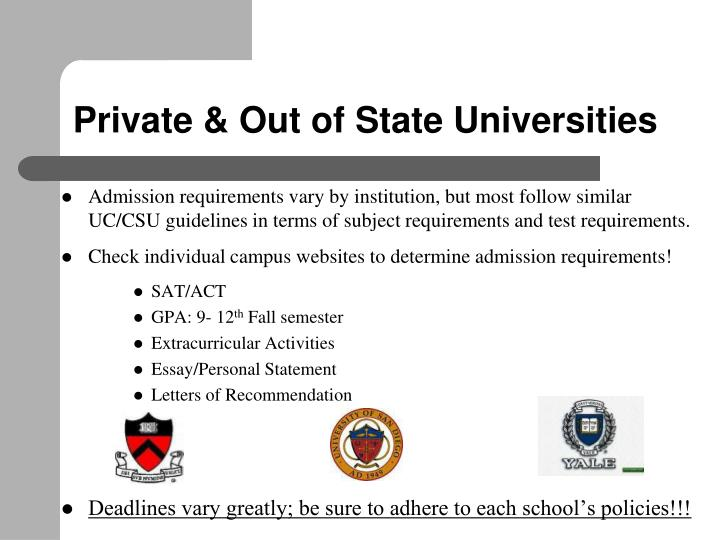 Private & Out of State Universities