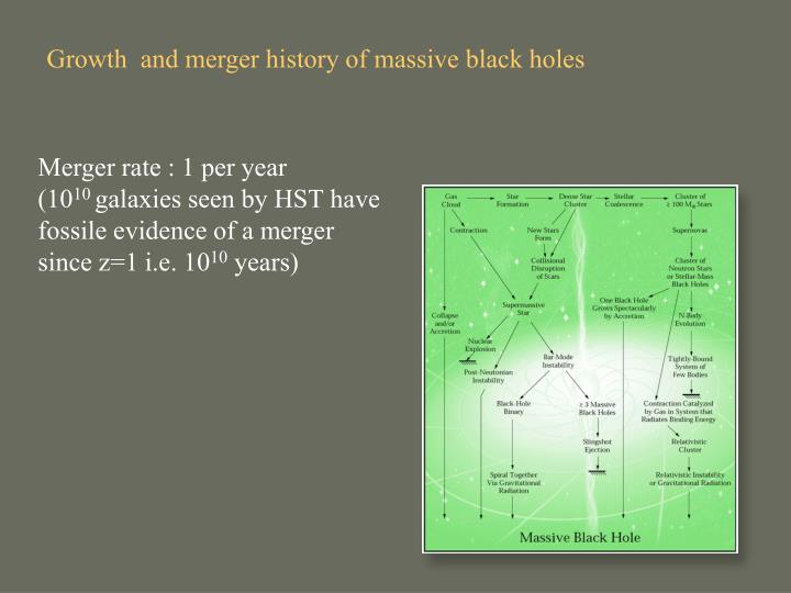 Growth  and merger history of massive black holes