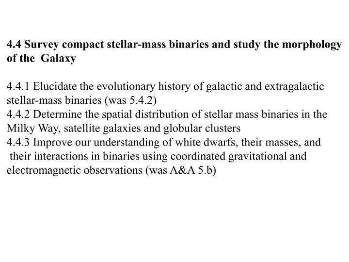 4.4 Survey compact stellar-mass binaries and study the morphology