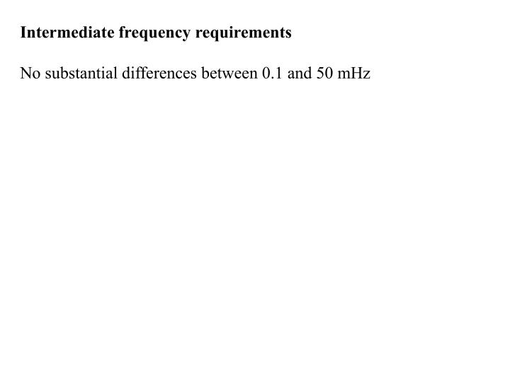 Intermediate frequency requirements