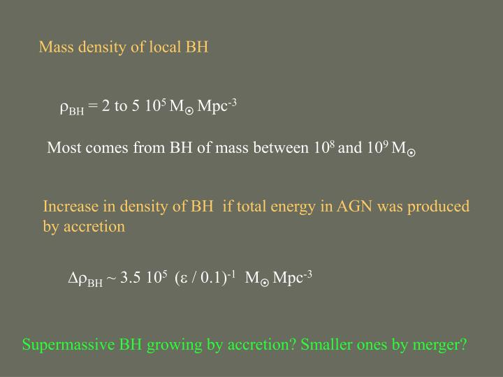 Mass density of local BH