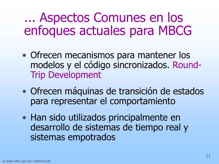 ... Aspectos Comunes en los enfoques actuales para MBCG
