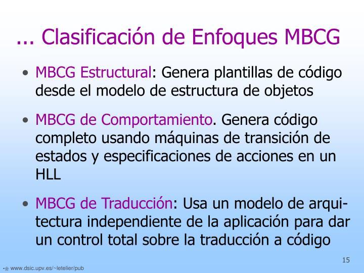 ... Clasificación de Enfoques MBCG