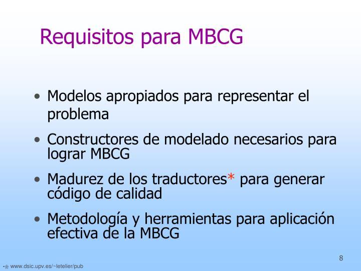 Requisitos para MBCG