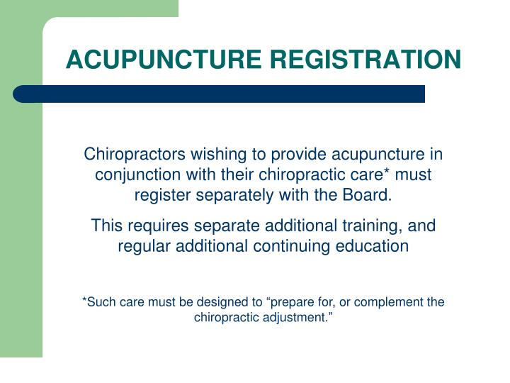 ACUPUNCTURE REGISTRATION