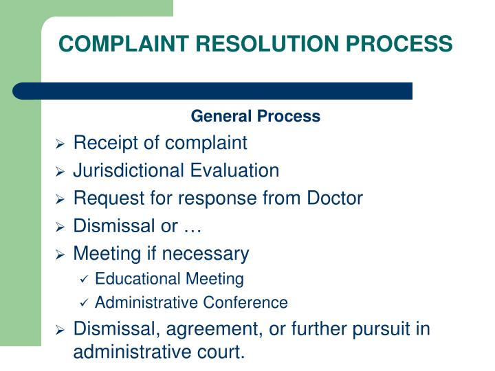 COMPLAINT RESOLUTION PROCESS