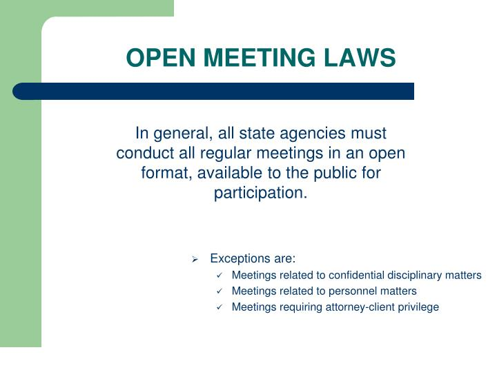 OPEN MEETING LAWS