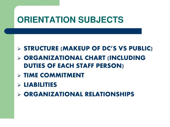 ORIENTATION SUBJECTS