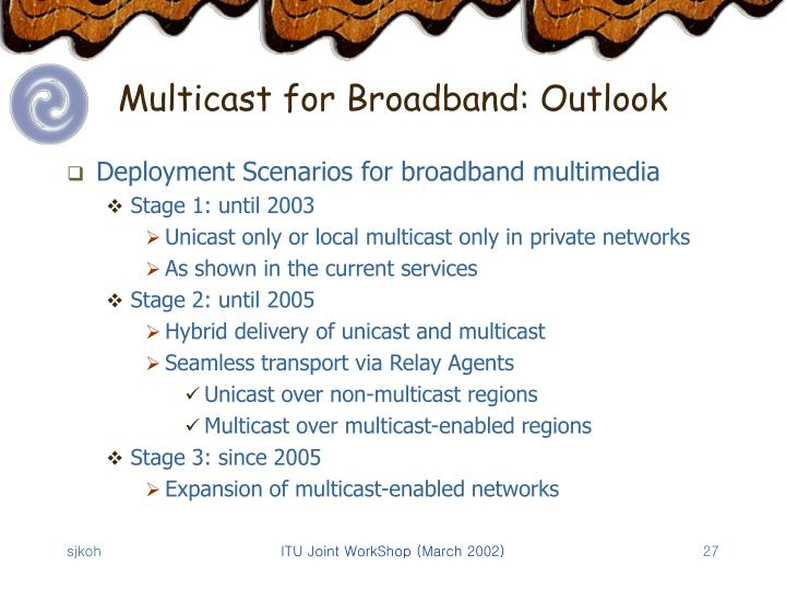 Multicast for Broadband: Outlook