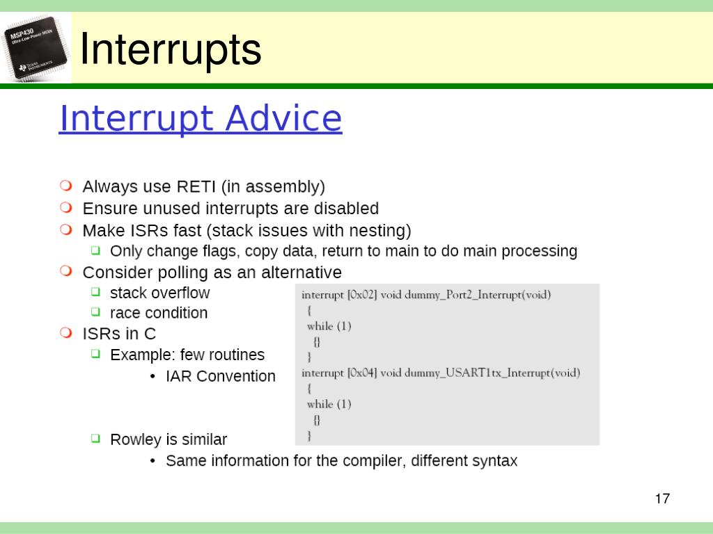 PPT - TI MSP430 Polling, Interrupts, ISRs PowerPoint