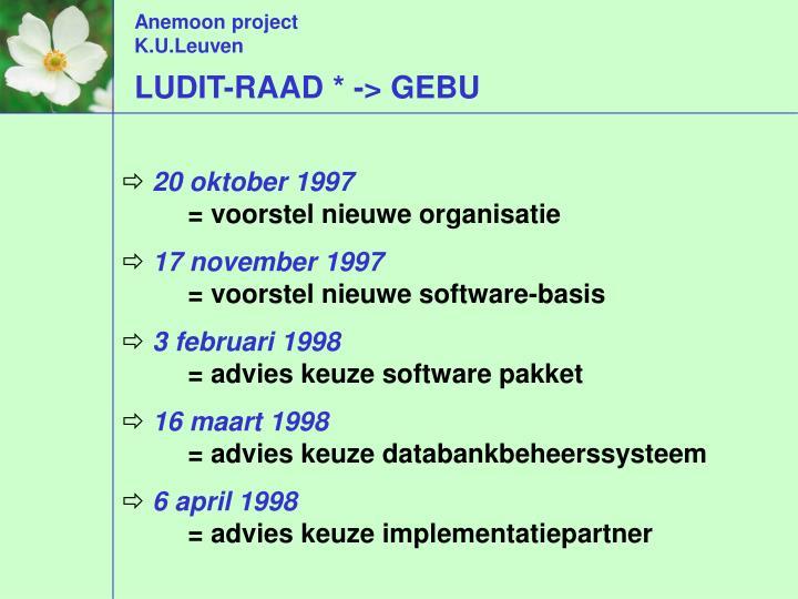 LUDIT-RAAD * -> GEBU