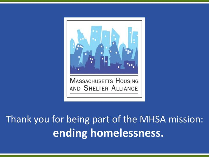 Thank you for being part of the MHSA mission: