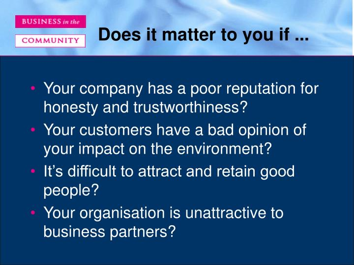 Does it matter to you if ...