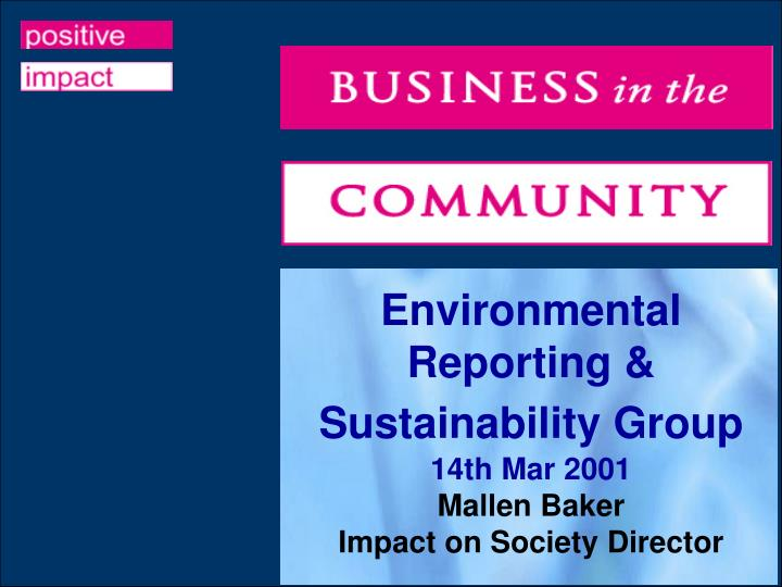 Environmental Reporting & Sustainability Group