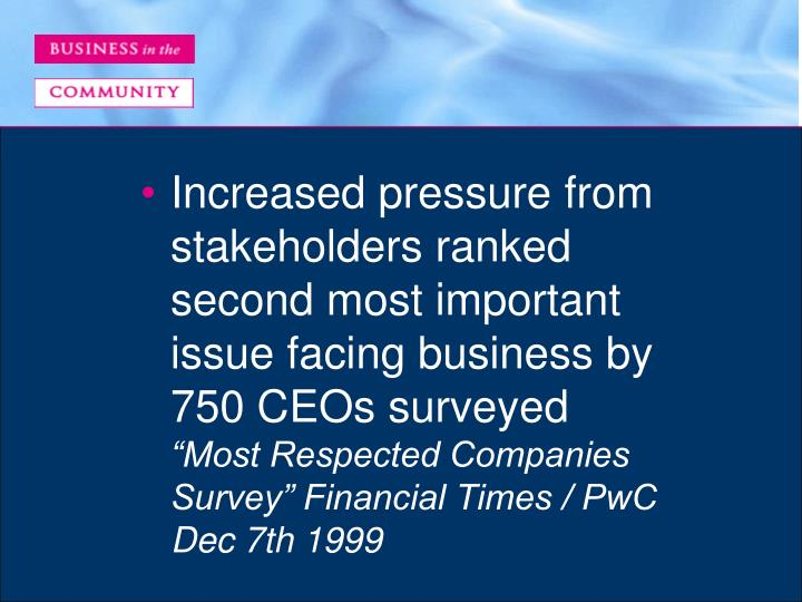 Increased pressure from stakeholders ranked second most important issue facing business by 750 CEOs surveyed