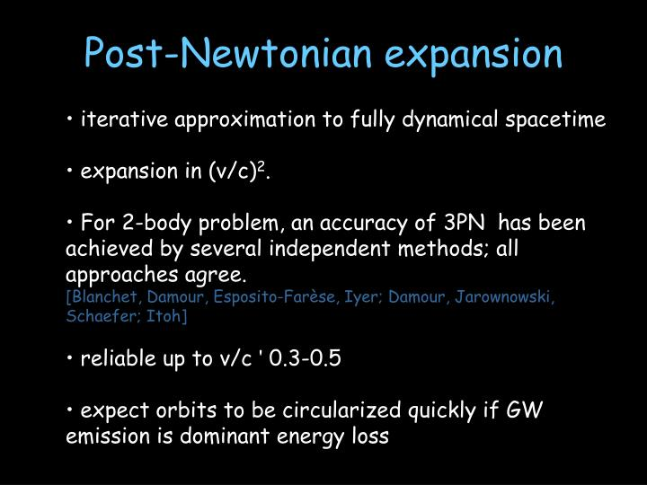 Post-Newtonian expansion