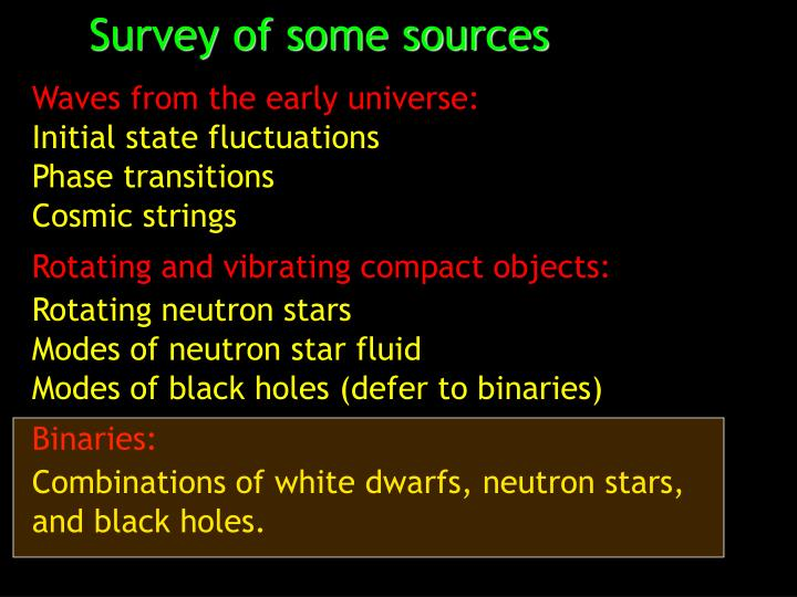 Survey of some sources