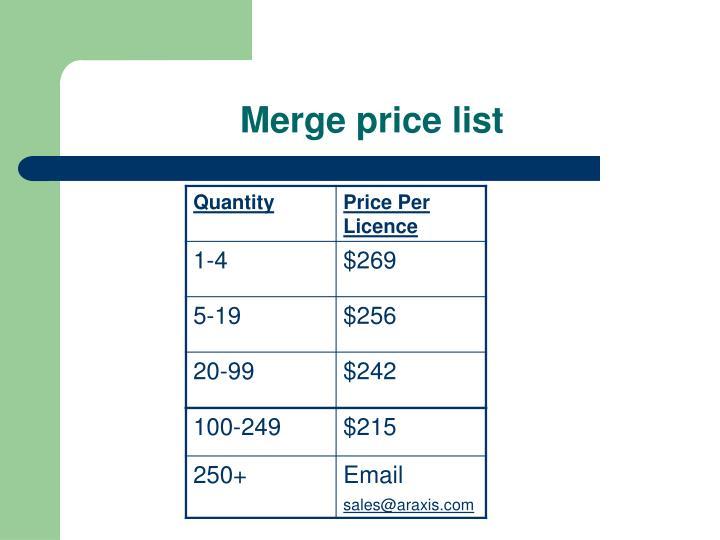 Merge price list