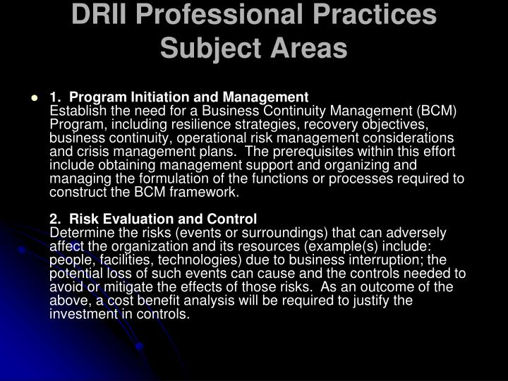DRII Professional Practices Subject Areas