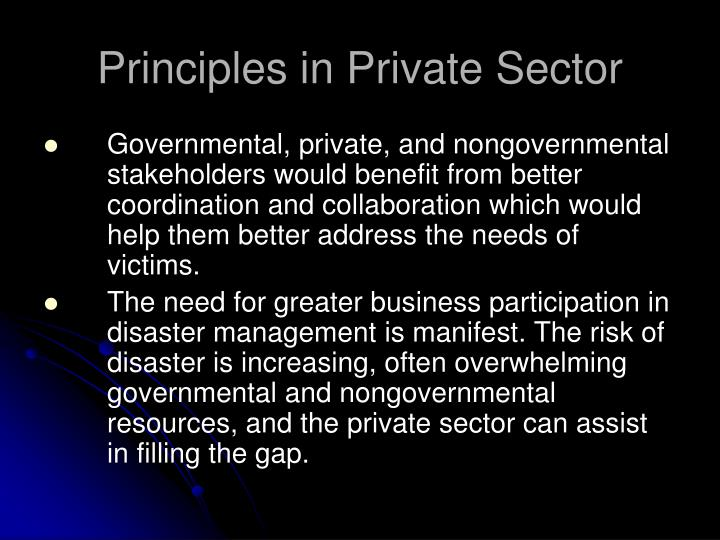 Principles in Private Sector