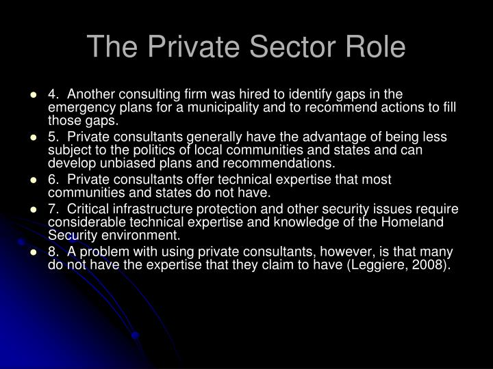 The Private Sector Role