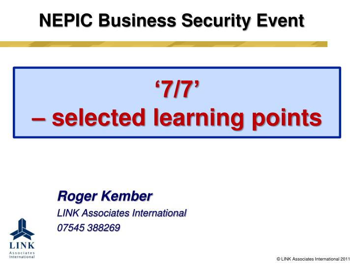 7 7 selected learning points n.