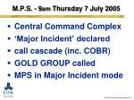 m p s 9 am thursday 7 july 2005