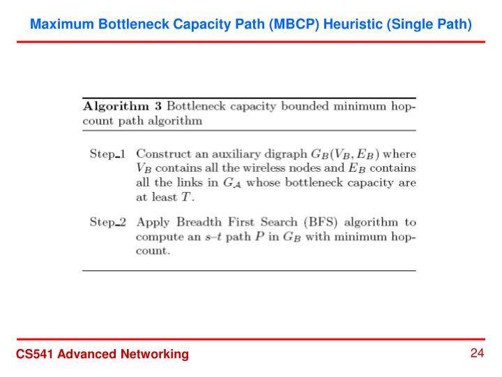 Maximum Bottleneck Capacity Path (MBCP) Heuristic (