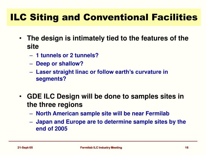 ILC Siting and Conventional Facilities