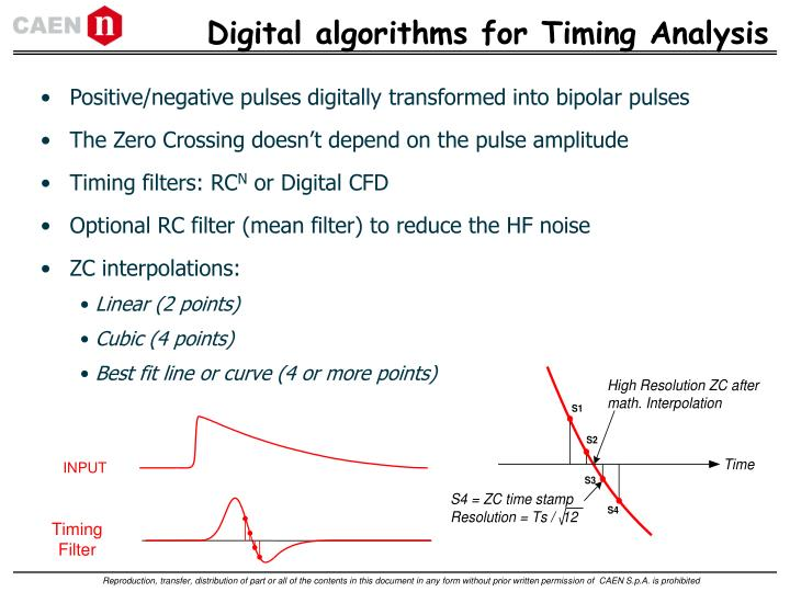 Digital algorithms for Timing Analysis