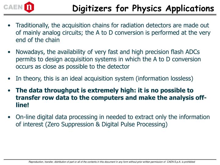 Digitizers for Physics Applications