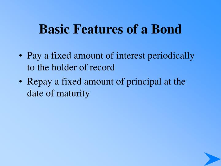 Basic features of a bond