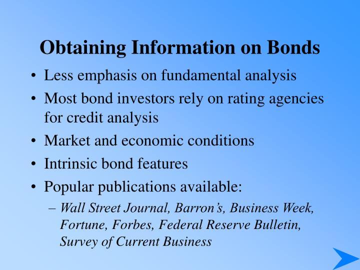 Obtaining Information on Bonds