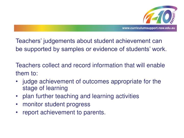 Teachers' judgements about student achievement can
