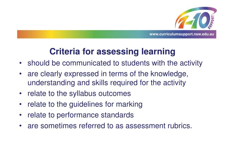 Criteria for assessing learning