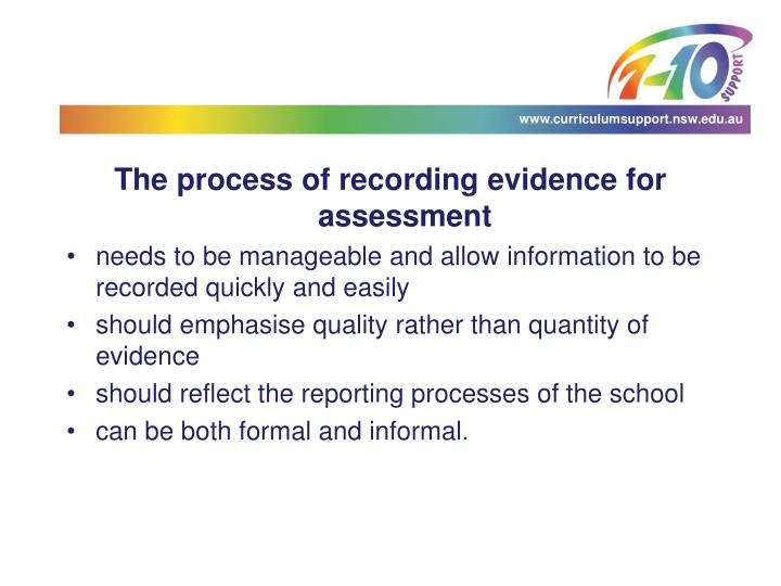 The process of recording evidence for assessment