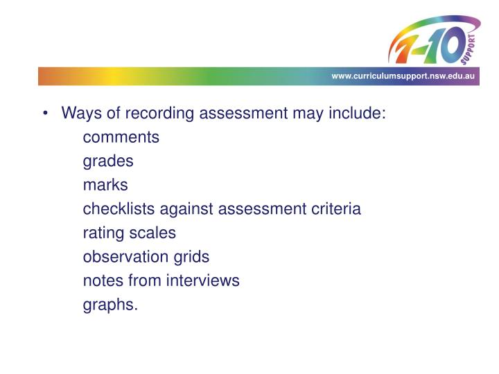 Ways of recording assessment may include: