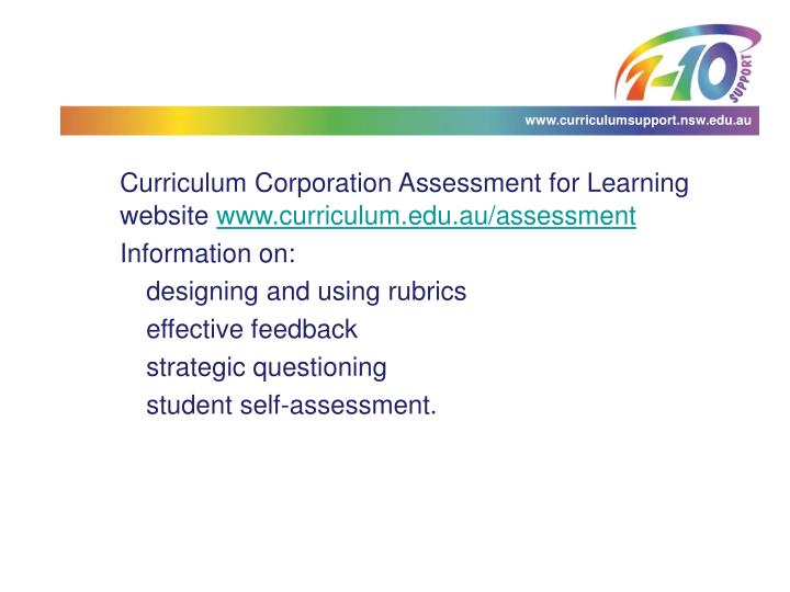 Curriculum Corporation Assessment for Learning website