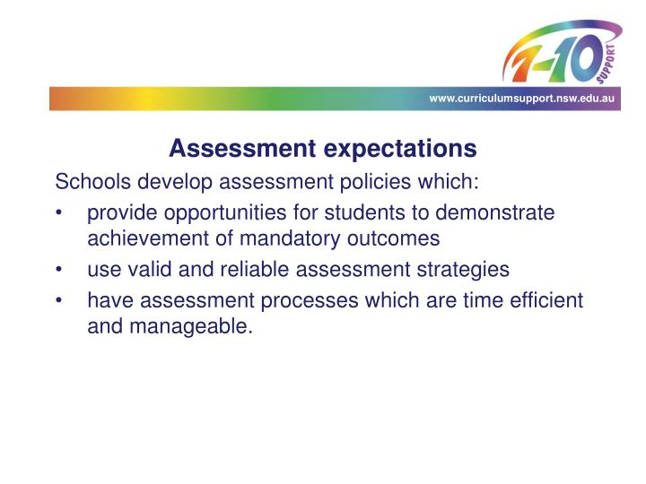 Assessment expectations
