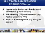 multimedia hypermedia resources con t