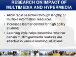 research on impact of multimedia and hypermedia