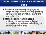 software tool categories con t