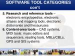 software tool categories con t1