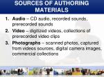 sources of authoring materials