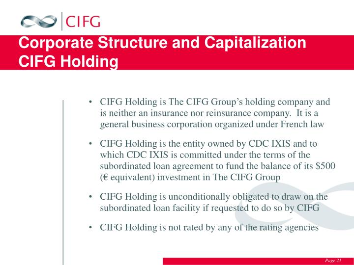 Corporate Structure and Capitalization